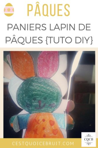 Panier lapin à colorier pour Pâques