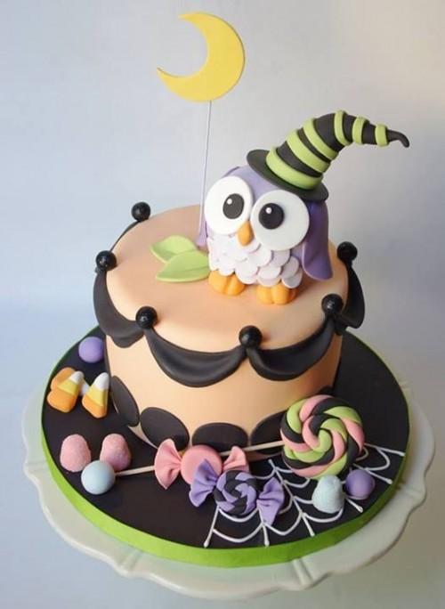 Gâteau d'halloween en chouette