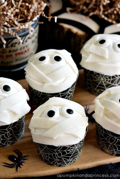 Cupcakes d'Halloween momie