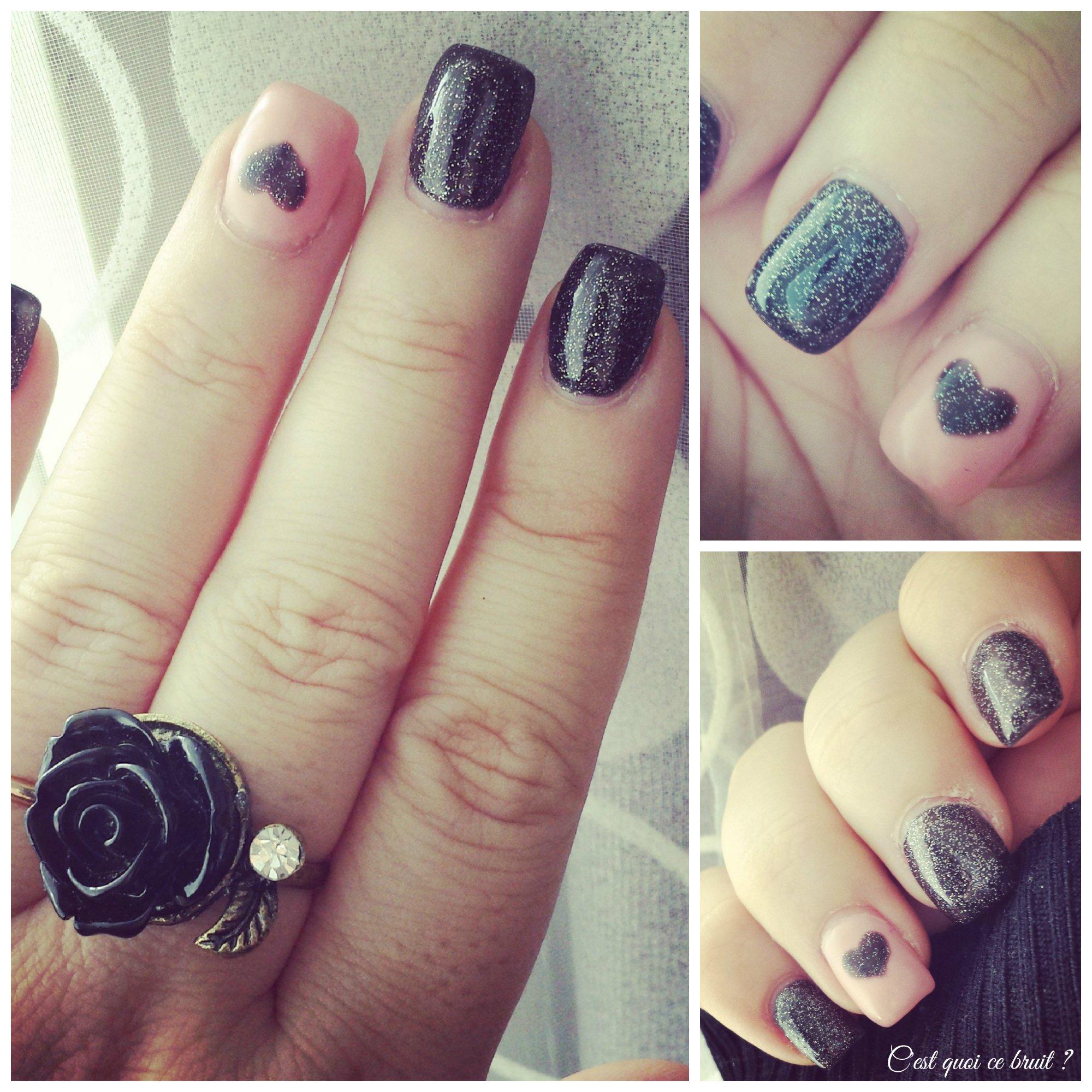 manucure-ongles-noir-rose-coeur