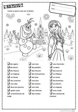 Fiche de jeu à imprimer La reine des neiges
