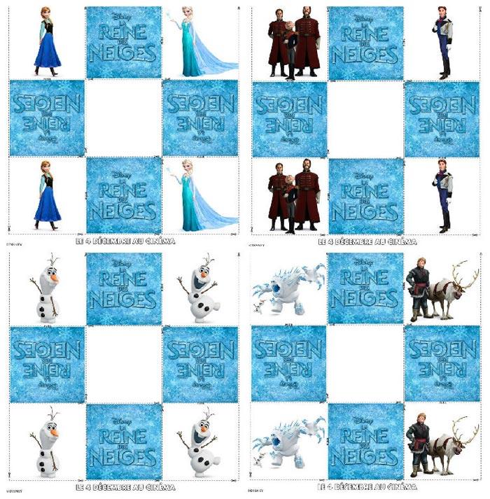 Jeu de memory à imprimer La reine des neiges
