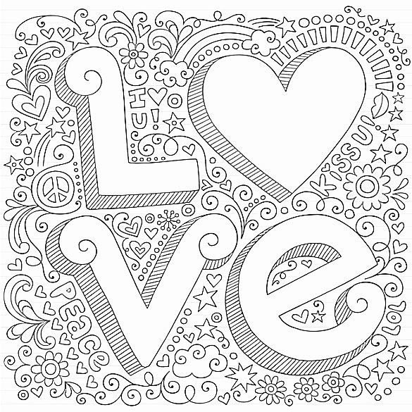 Coloriage anti-stress pour adulte love
