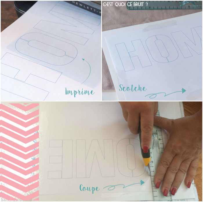 Fabriquer un pochoir à lettres HOME pour relooker un coussin
