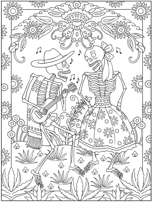Coloriage d 39 halloween imprimer gratuitement for Mexican coloring pages for adults