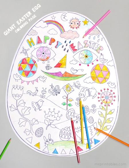 Coloriage oeuf géant de Pâques à imprimer
