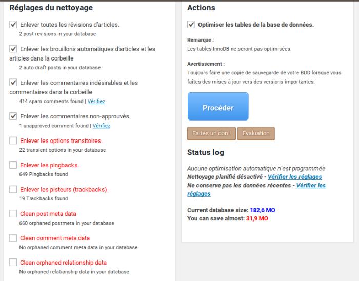 Nettoyer et optimiser sa base de données avec WP-Optimize