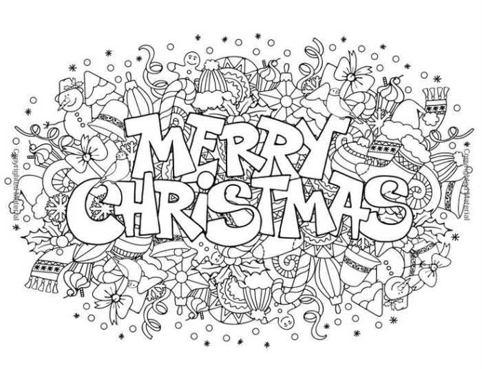 Coloriage Noël à imprimer gratuitement : Merry Christmas
