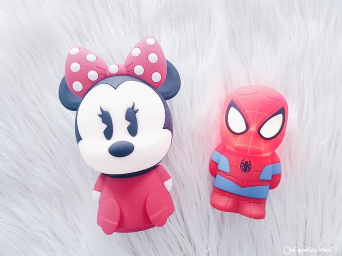 Test des veilleuses Softpal Spiderman et Minnie