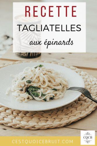 Recette de tagliatelles aux épinards et pignons #tagliatelles #pâtes #épinards #recette #recipe #recettelégère