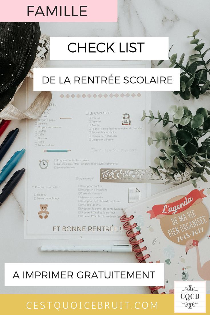 Check list de la rentrée scolaire à imprimer gratuitement pour ne rien oublier le premier jour d'école des enfants #printable #rentrée #école #famille